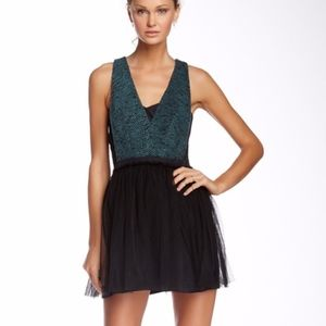 BCBGeneration Tweed and Tulle cocktail dress